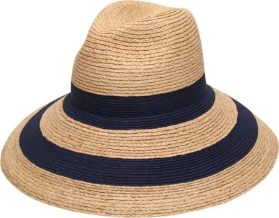 Gottex Newport Fedora Hat One Size - Natural/Navy - Gottex Hats/Gloves/Scarves