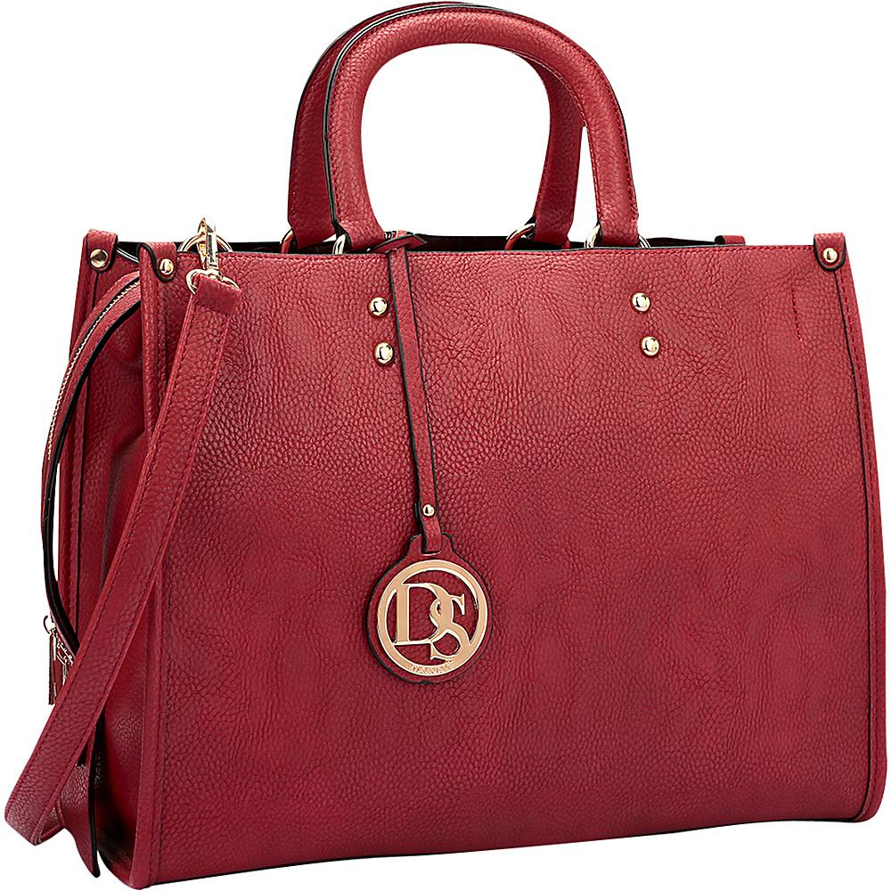 Dasein Soft Faux Leather Satchel with Round Handle Burgundy - Dasein Manmade Handbags - Handbags, Manmade Handbags