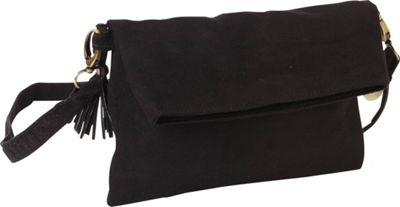 Maha Loka Be Great Suede Clutch Black - Maha Loka Manmade Handbags