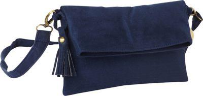 Maha Loka Be Great Suede Clutch Sea Blue - Maha Loka Manmade Handbags