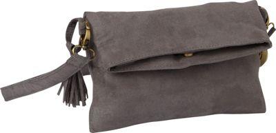 Maha Loka Be Great Suede Clutch Grey - Maha Loka Manmade Handbags