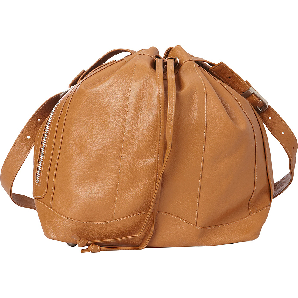 Piel Leather Drawstring Bag Saddle - Piel Leather Handbags - Handbags, Leather Handbags