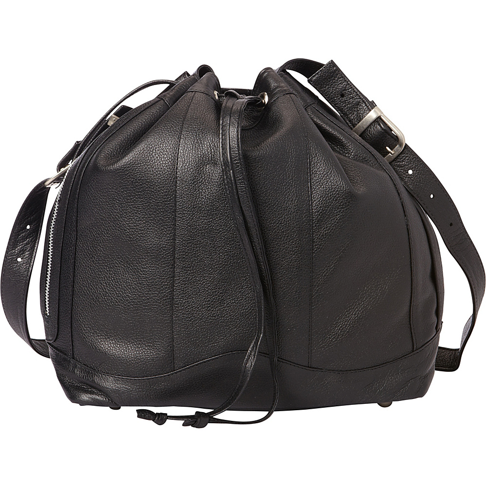 Piel Leather Drawstring Bag Black - Piel Leather Handbags - Handbags, Leather Handbags