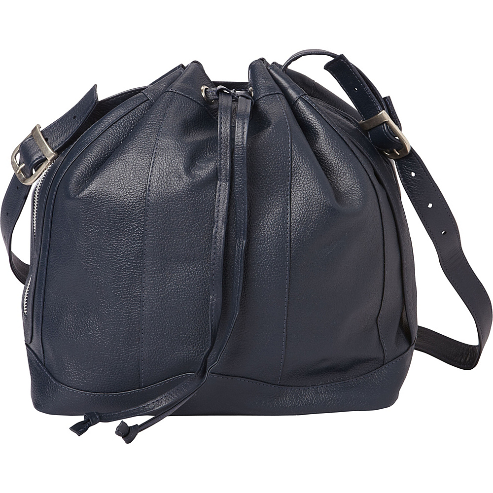 Piel Leather Drawstring Bag Navy - Piel Leather Handbags - Handbags, Leather Handbags