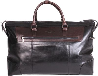 Kenneth Cole New York Business Cow Polish Nappa Leather 20 inch Duffel Black With Brown Trim - Kenneth Cole New York Business Travel Duffels