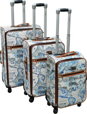 Chariot Map 3 Pc Hardside Spinner Set Blue - Chariot Luggage Sets