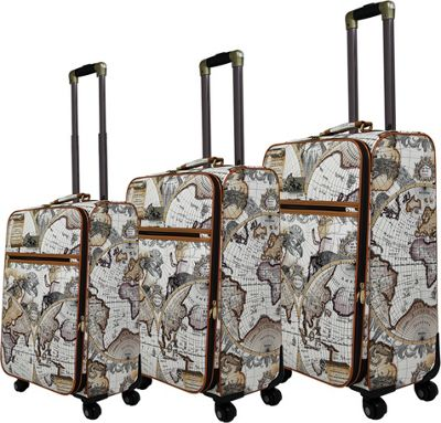 Chariot Map 3 Pc Hardside Spinner Set Brown - Chariot Luggage Sets