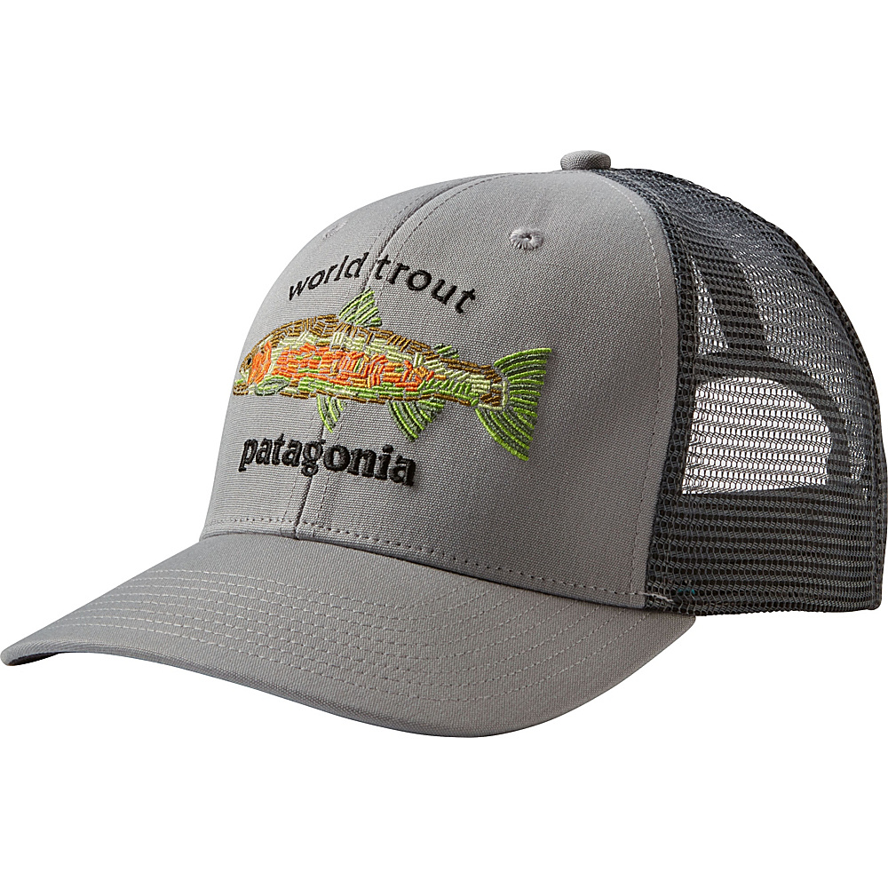 Patagonia World Trout Fishstitch Trucker Hat One Size - Drifter Grey - Patagonia Hats/Gloves/Scarves - Fashion Accessories, Hats/Gloves/Scarves