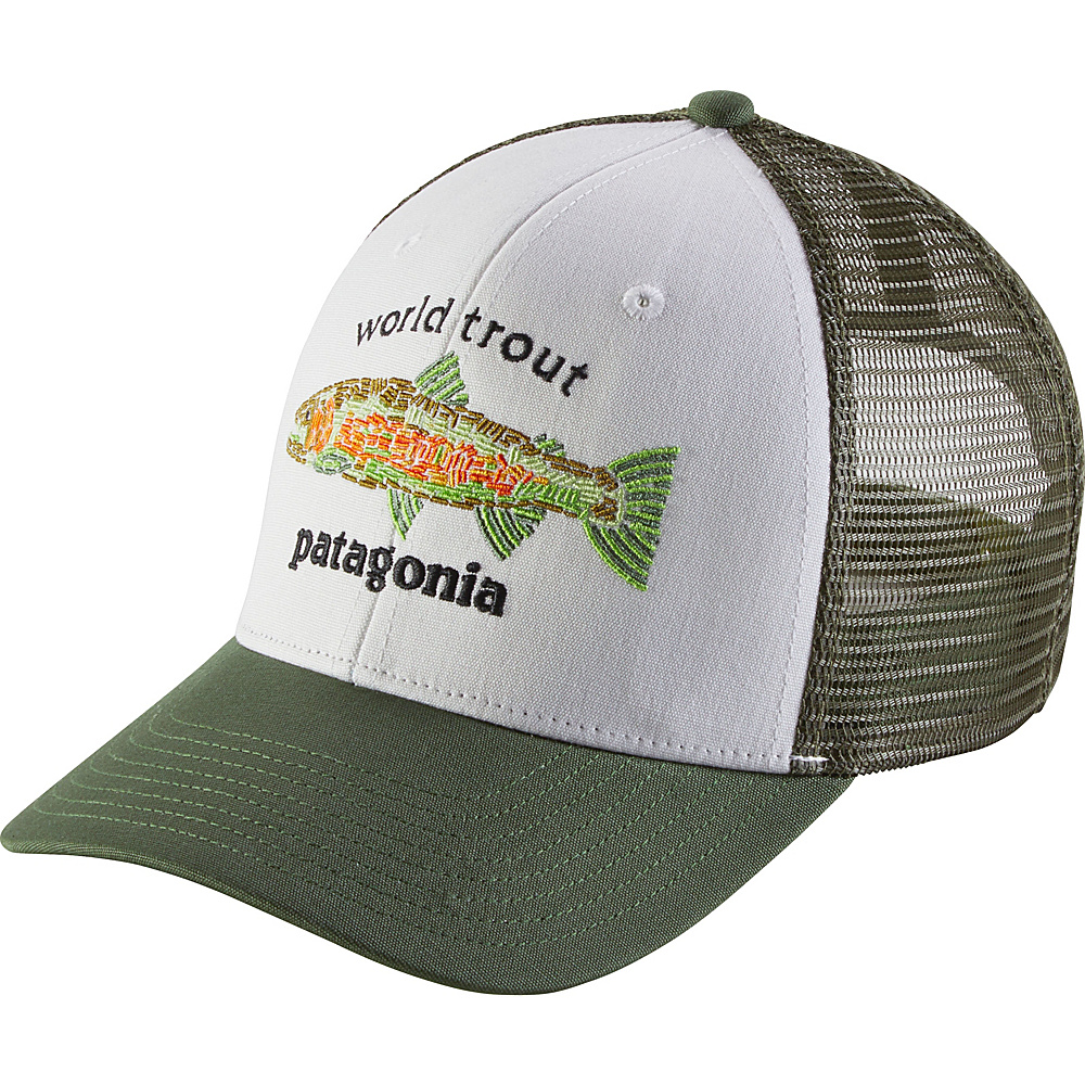 Patagonia World Trout Fishstitch Trucker Hat One Size - White - Patagonia Hats/Gloves/Scarves - Fashion Accessories, Hats/Gloves/Scarves