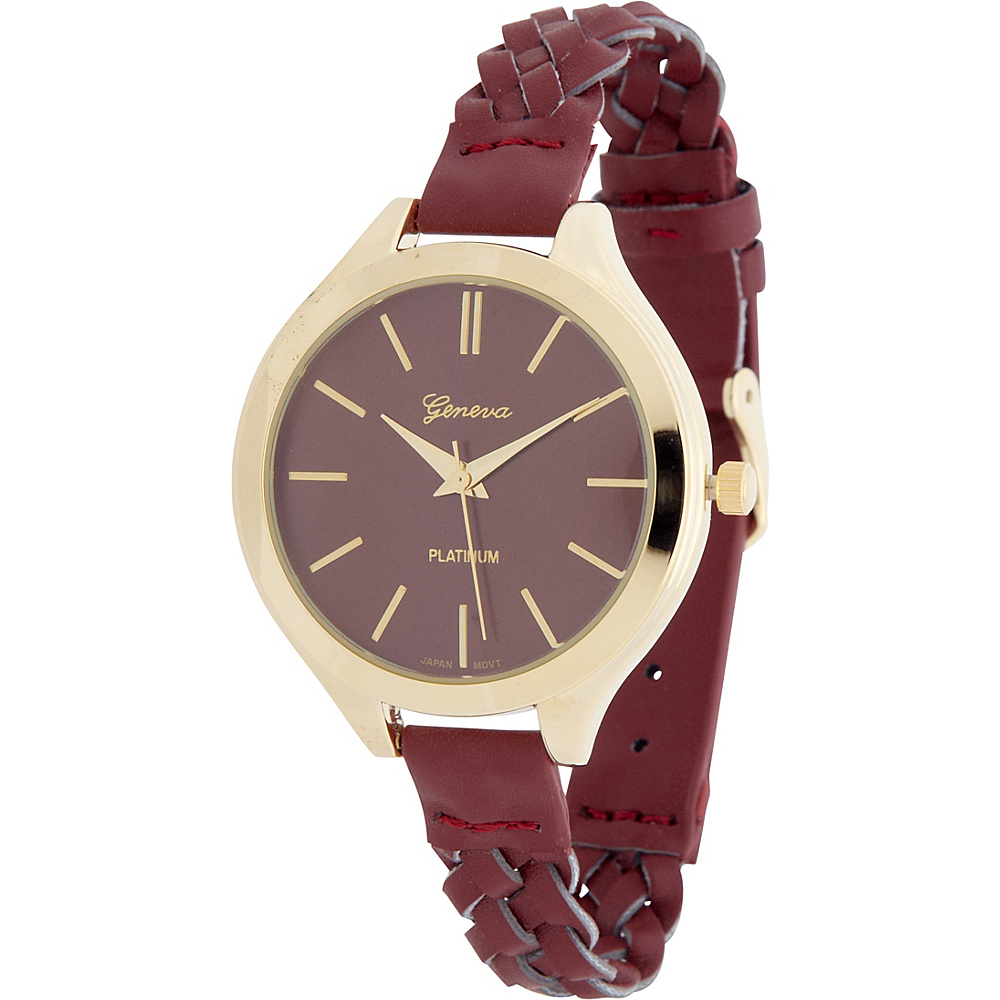 Samoe Slim Braided Band Watch Maroon Samoe Watches
