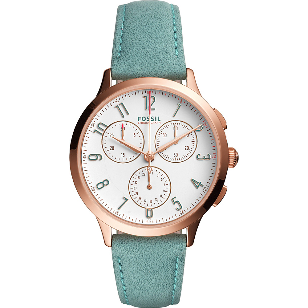 Fossil Abilene Chronograph Leather Watch Green - Fossil Watches - Fashion Accessories, Watches