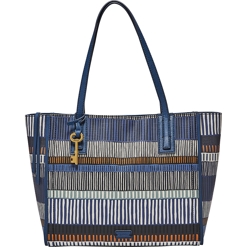 Fossil Emma Tote Navy/Stripe - Fossil Manmade Handbags - Handbags, Manmade Handbags