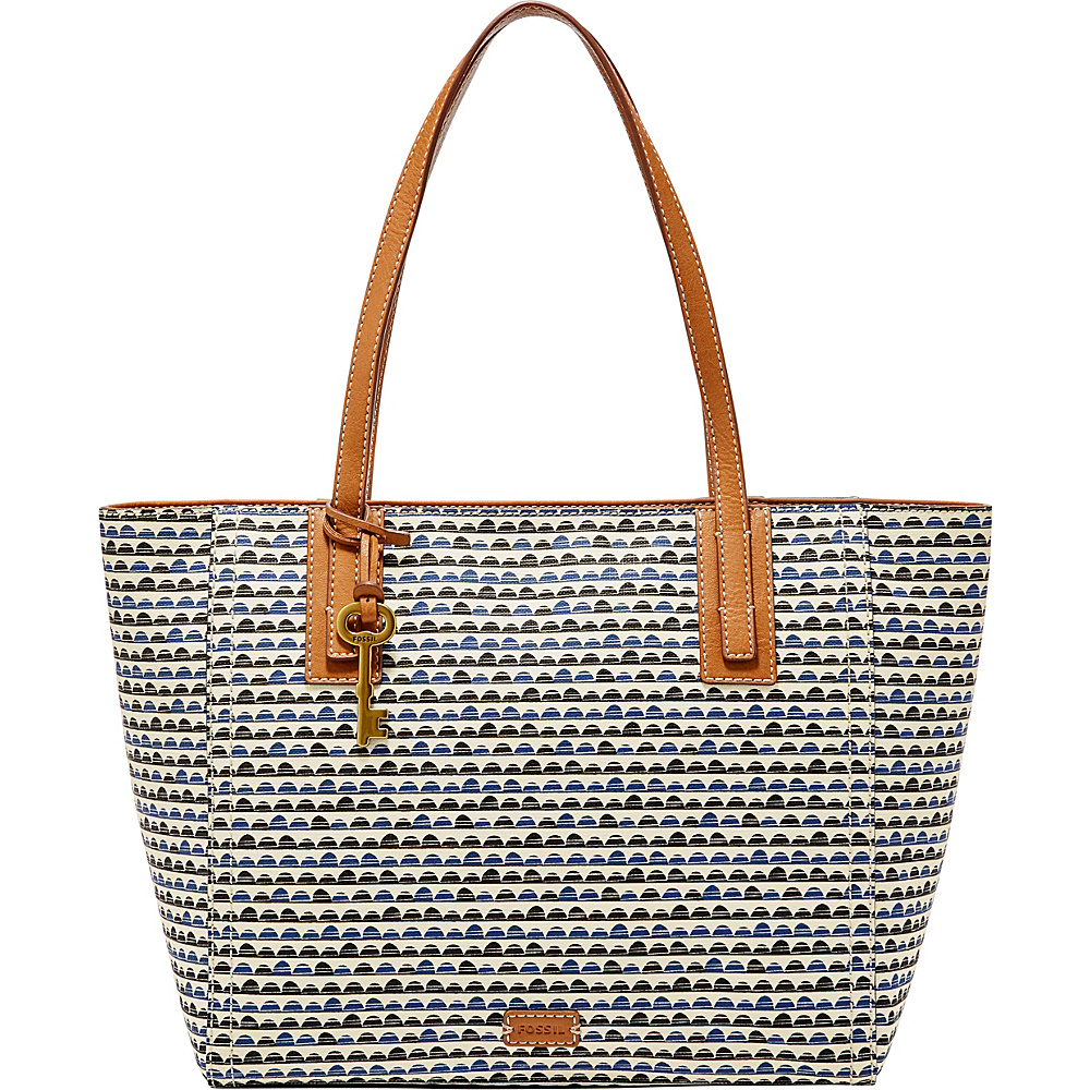 Fossil Emma Tote Blue Print - Fossil Manmade Handbags - Handbags, Manmade Handbags