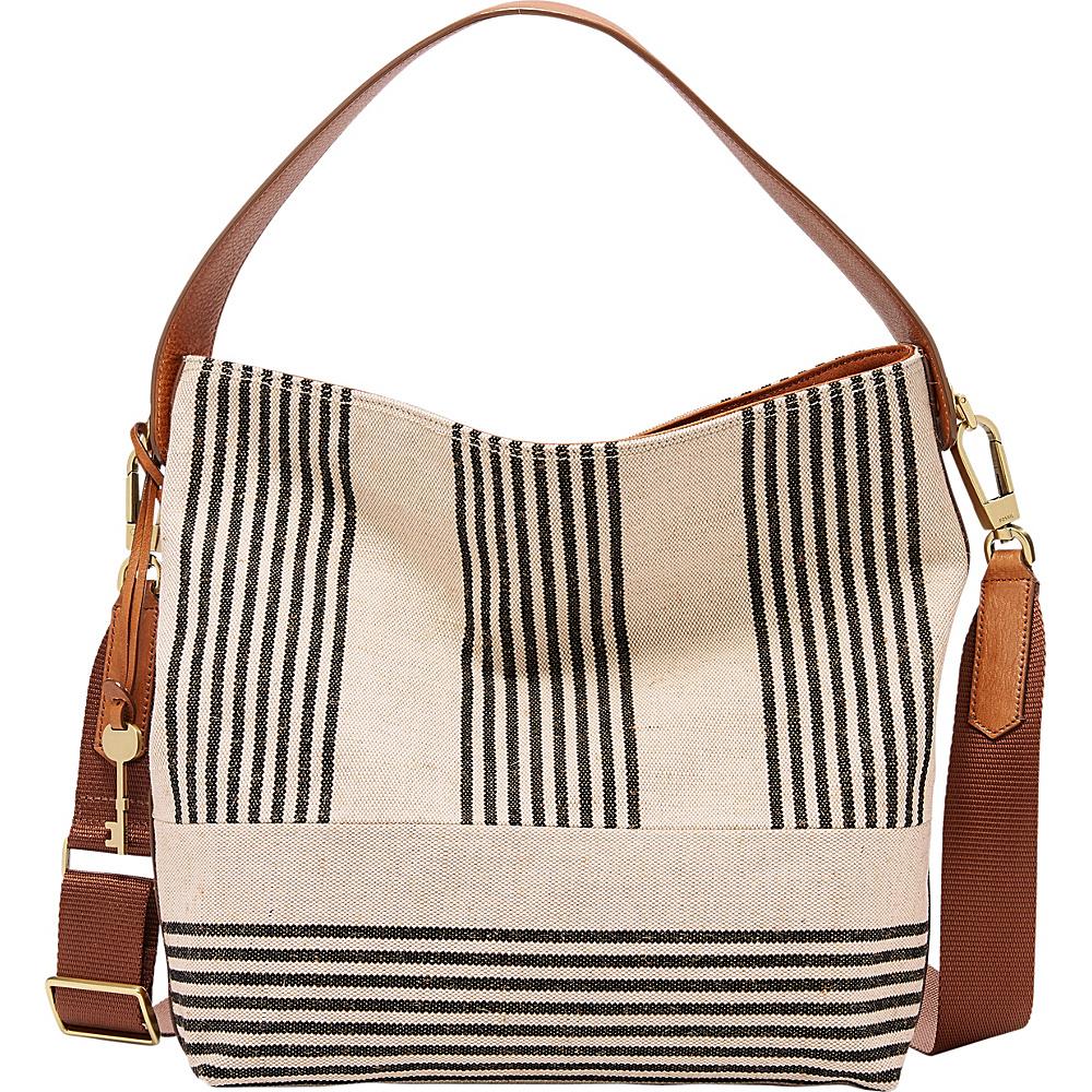 Fossil Maya Hobo Black Stripe - Fossil Fabric Handbags - Handbags, Fabric Handbags