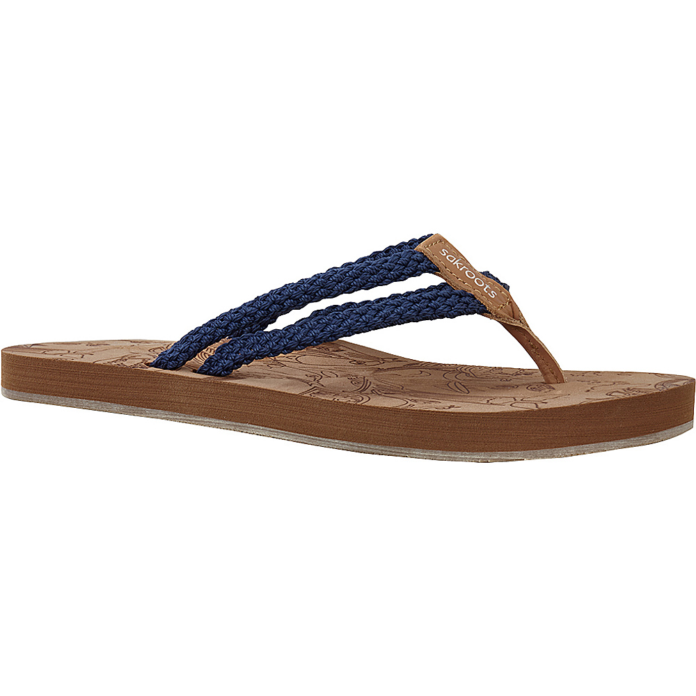 Sakroots Bailen Flip Flop Sandal 7 - Denim - Sakroots Womens Footwear - Apparel & Footwear, Women's Footwear