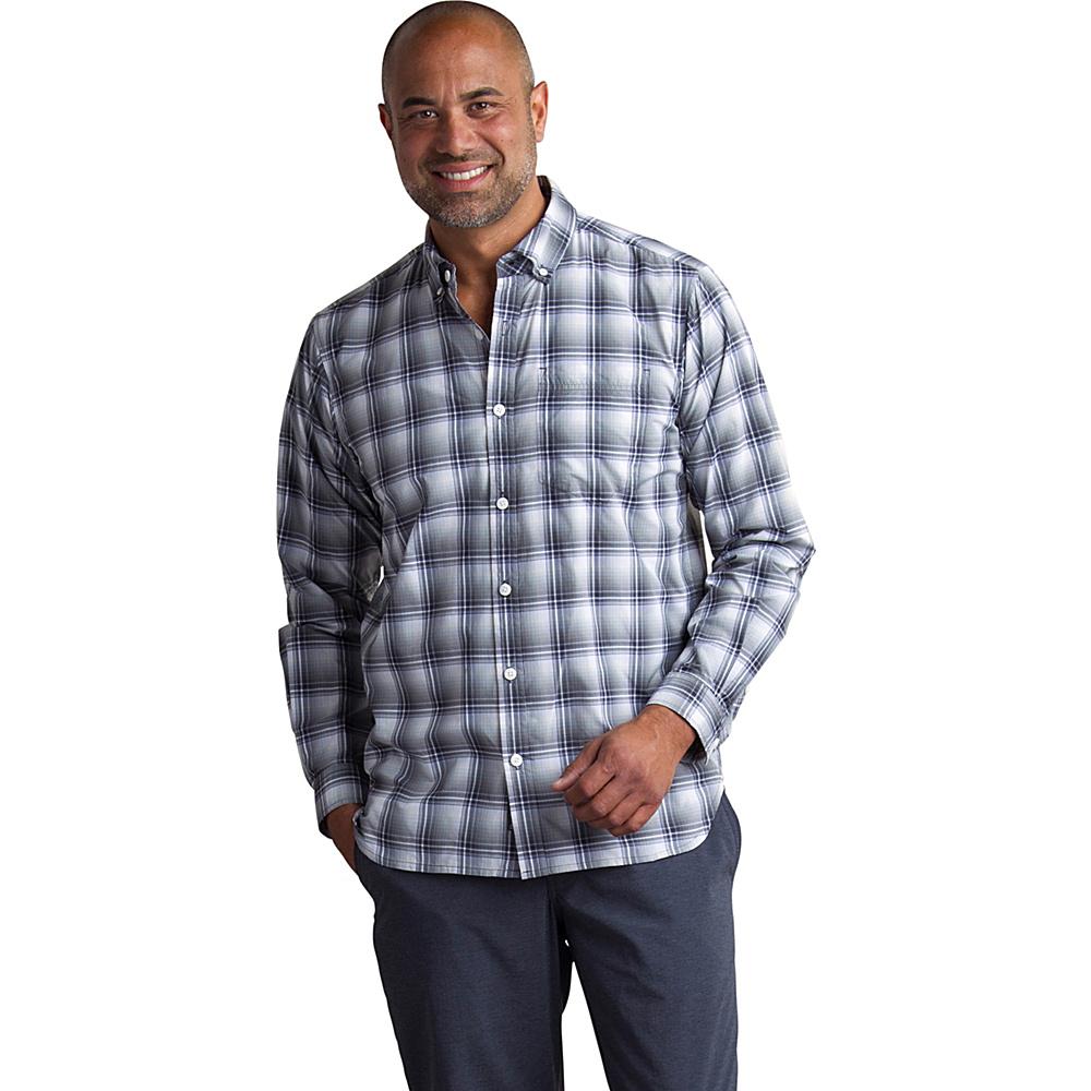ExOfficio Mens Sol Cool Leman Plaid Long Sleeve Shirt L - Cement - ExOfficio Mens Apparel - Apparel & Footwear, Men's Apparel