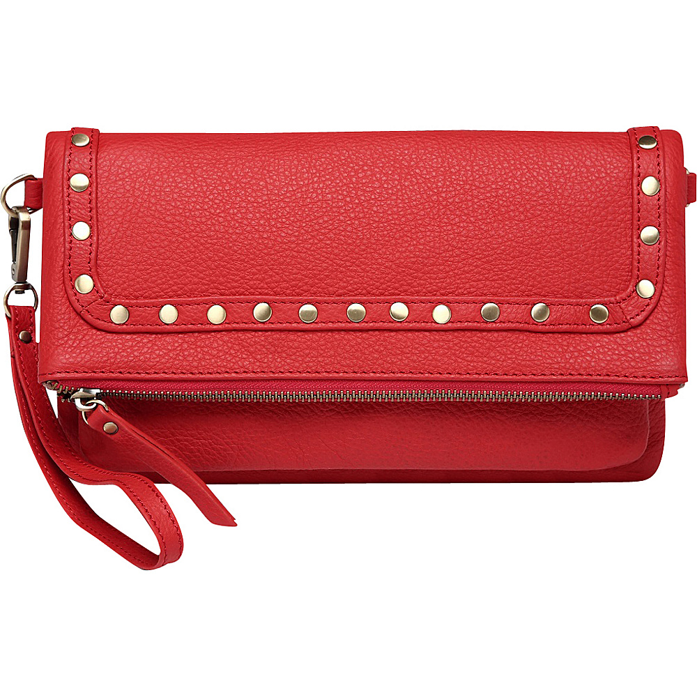 Vicenzo Leather Francesca Leather Convertible Crossbody Red Vicenzo Leather Leather Handbags