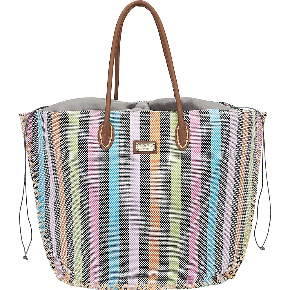 Sun N Sand Natural Straw Handbag Tote Black Multi - Sun N Sand Straw Handbags - Handbags, Straw Handbags
