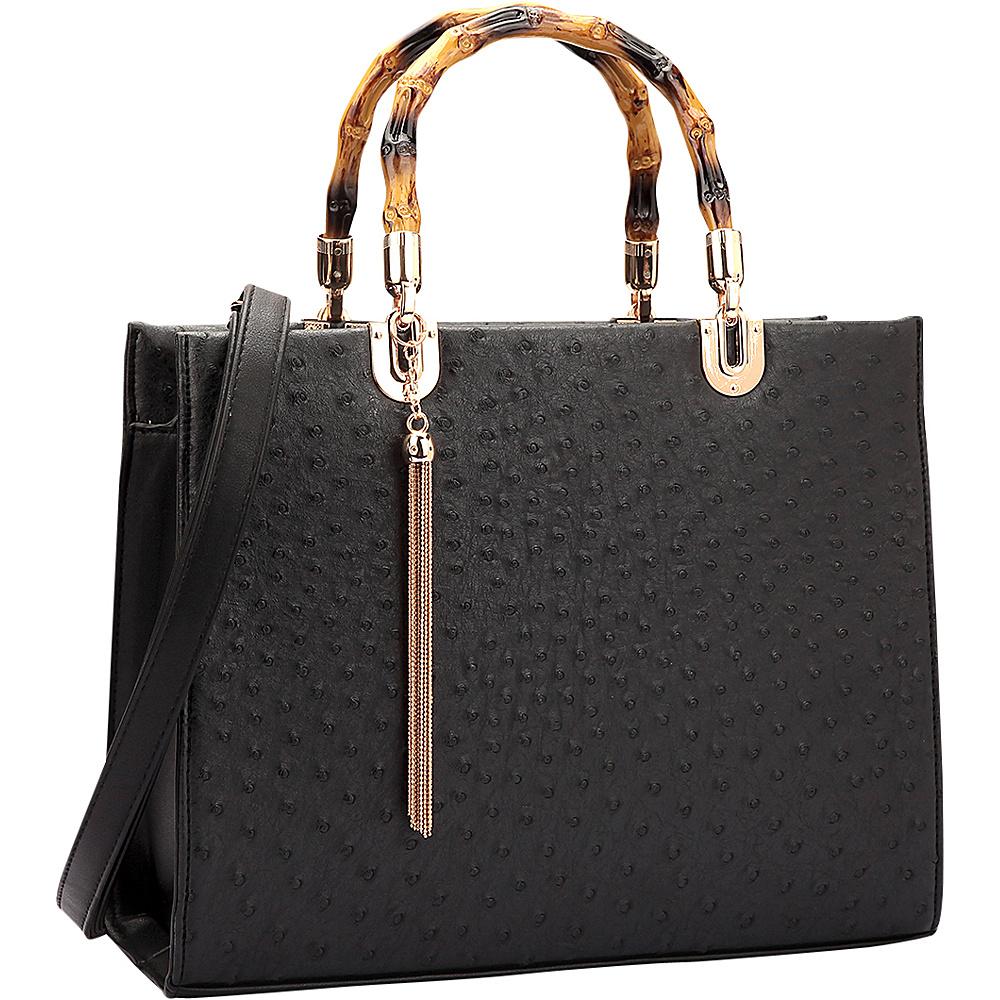 Dasein Ostrich Material Wooden Handle Leather Satchel with Tassel Black - Dasein Manmade Handbags - Handbags, Manmade Handbags