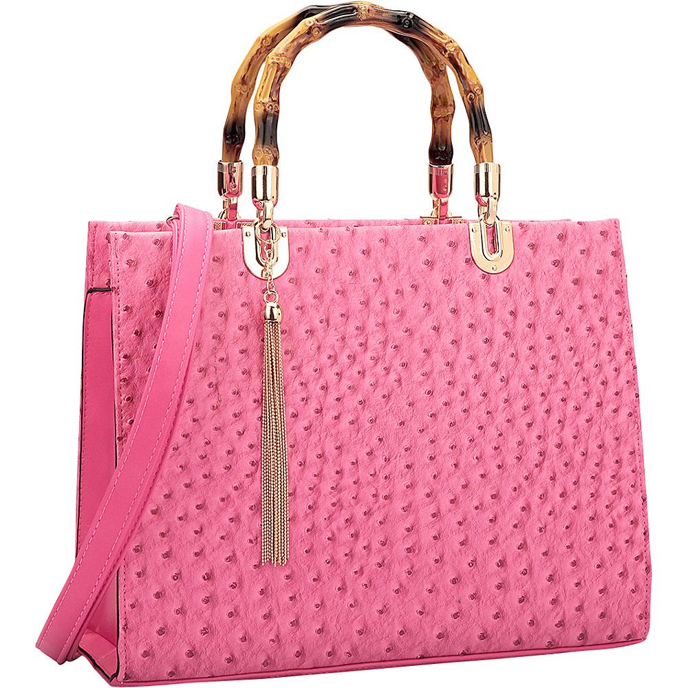 Dasein Ostrich Material Wooden Handle Leather Satchel with Tassel Fuchsia - Dasein Manmade Handbags - Handbags, Manmade Handbags
