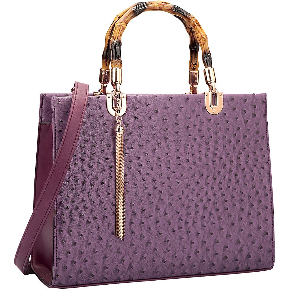 Dasein Ostrich Material Wooden Handle Leather Satchel with Tassel Purple - Dasein Manmade Handbags - Handbags, Manmade Handbags