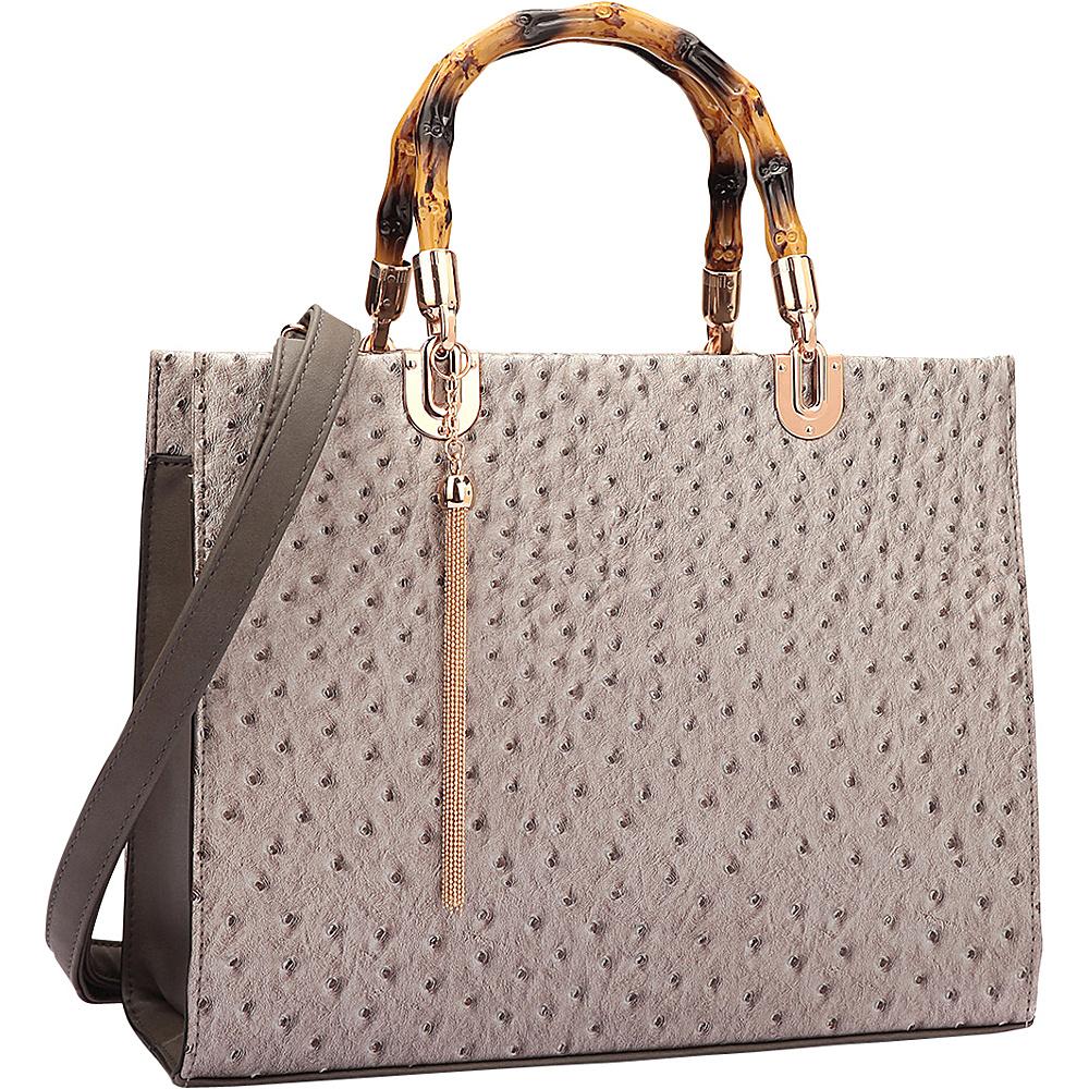 Dasein Ostrich Material Wooden Handle Leather Satchel with Tassel Pewter - Dasein Manmade Handbags - Handbags, Manmade Handbags