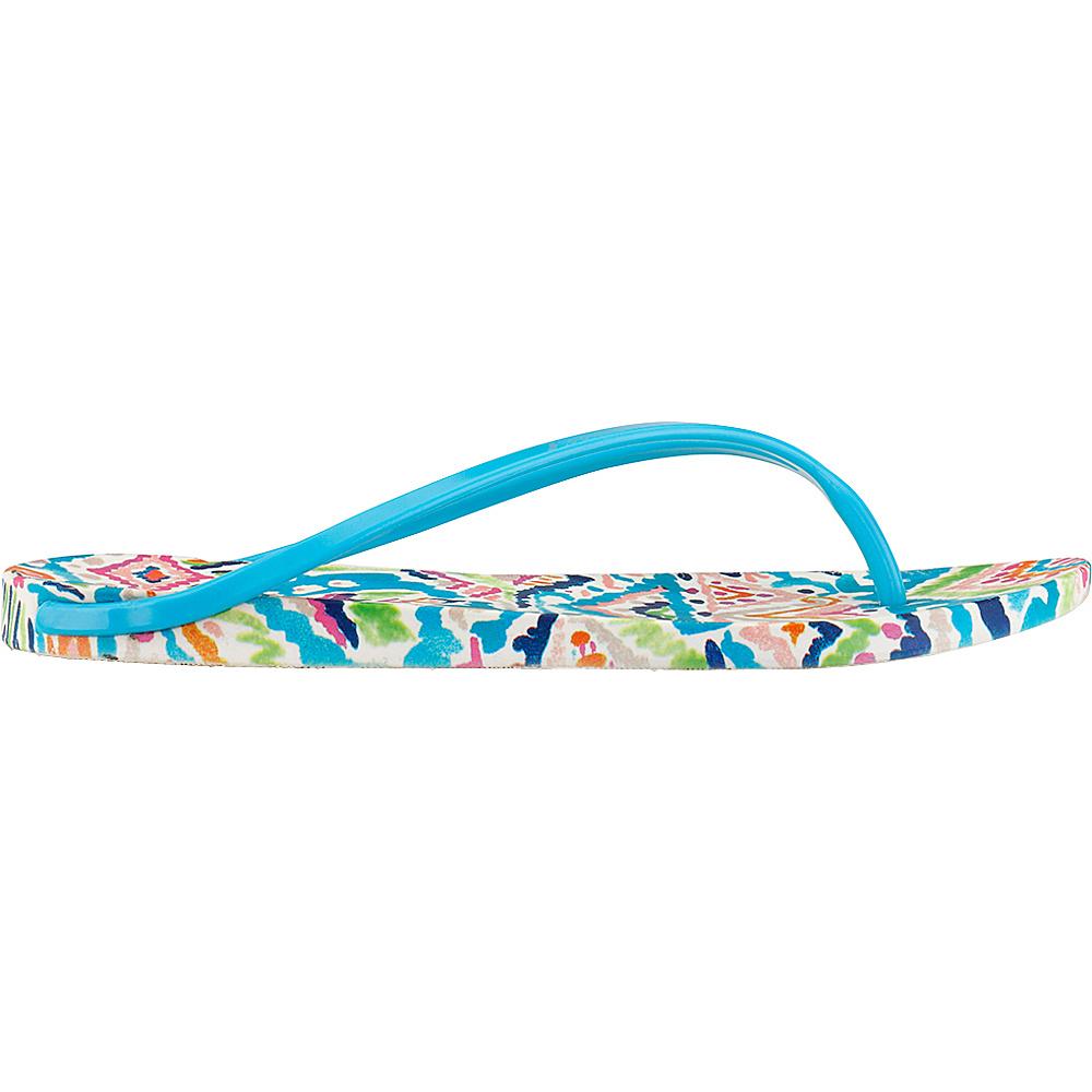 Sakroots Jetty Flip Flop Sandal 6 - Aqua Brave Beauti - Sakroots Womens Footwear - Apparel & Footwear, Women's Footwear
