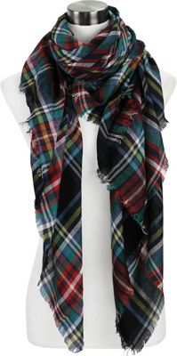 Lava Accessories Lightweight Plaid Blanket Scarf Black - Lava Accessories Scarves