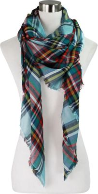 Lava Accessories Lightweight Plaid Blanket Scarf Blue - Lava Accessories Scarves