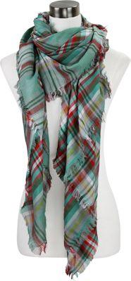 Lava Accessories Lightweight Plaid Blanket Scarf Mint - Lava Accessories Scarves