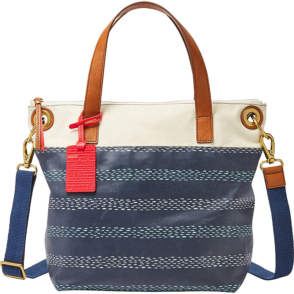 Fossil Keely Tote Blue Stripe - Large - Fossil Fabric Handbags - Handbags, Fabric Handbags