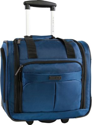 Perry Ellis Excess 9-Pocket Underseat Rolling Tote Carry-On Bag Navy - Perry Ellis Softside Carry-On