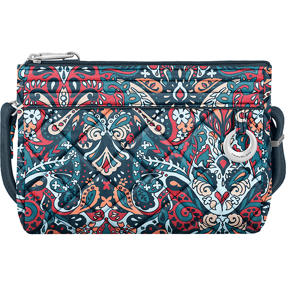 Travelon Anti-Theft Boho Convertible Crossbody Clutch Summer Paisley/Deep Turquoise Interior - Travelon Fabric Handbags - Handbags, Fabric Handbags