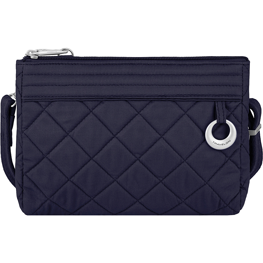 Travelon Anti-Theft Boho Convertible Crossbody Clutch Navy/Leaf Interior - Travelon Fabric Handbags - Handbags, Fabric Handbags