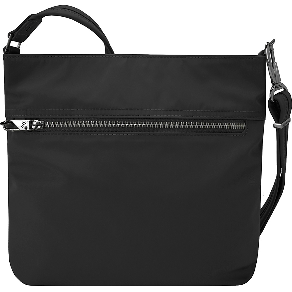 Travelon Anti-Theft Tailored N/S Slim Bag Onxy/Royal Purple Interior - Travelon Fabric Handbags - Handbags, Fabric Handbags