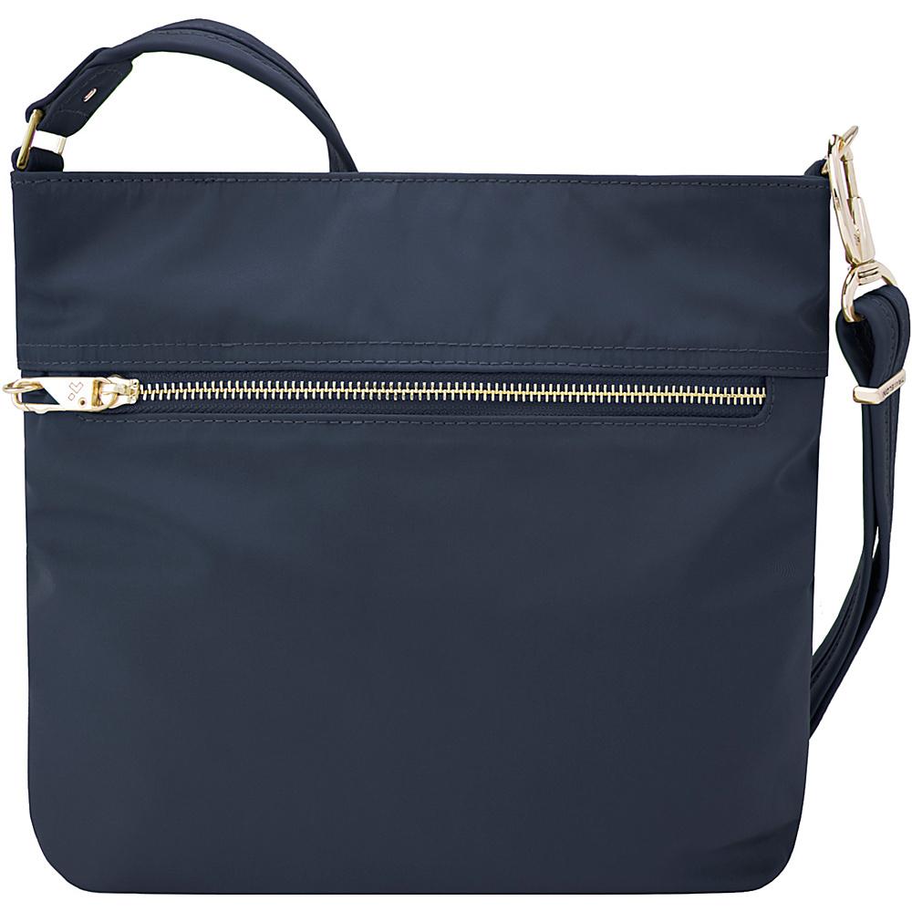 Travelon Anti-Theft Tailored N/S Slim Bag Sapphire/Dove Gray Interior - Travelon Fabric Handbags - Handbags, Fabric Handbags