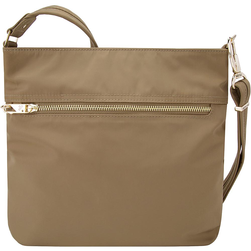 Travelon Anti-Theft Tailored N/S Slim Bag Sable/Royal Purple Interior - Travelon Fabric Handbags - Handbags, Fabric Handbags