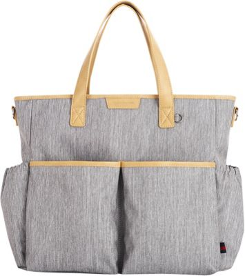 Perry Mackin Jamie Diaper Tote Grey - Perry Mackin Manmade Handbags