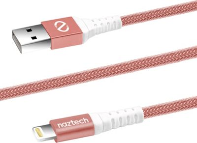 Naztech Braided MFi Lightning Charge & Sync Cable Rose Gold - Naztech Electronic Accessories
