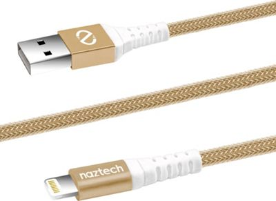 Naztech Naztech Braided MFi Lightning Charge & Sync Cable Gold - Naztech Electronic Accessories