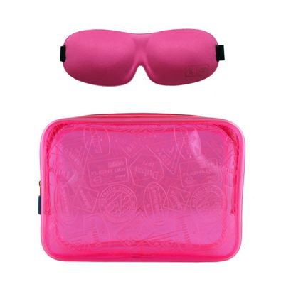 Flight 001 X Ray Quart Bag and Eye Mask Set - EXCLUSIVE Pink - Flight 001 Travel Comfort and Health