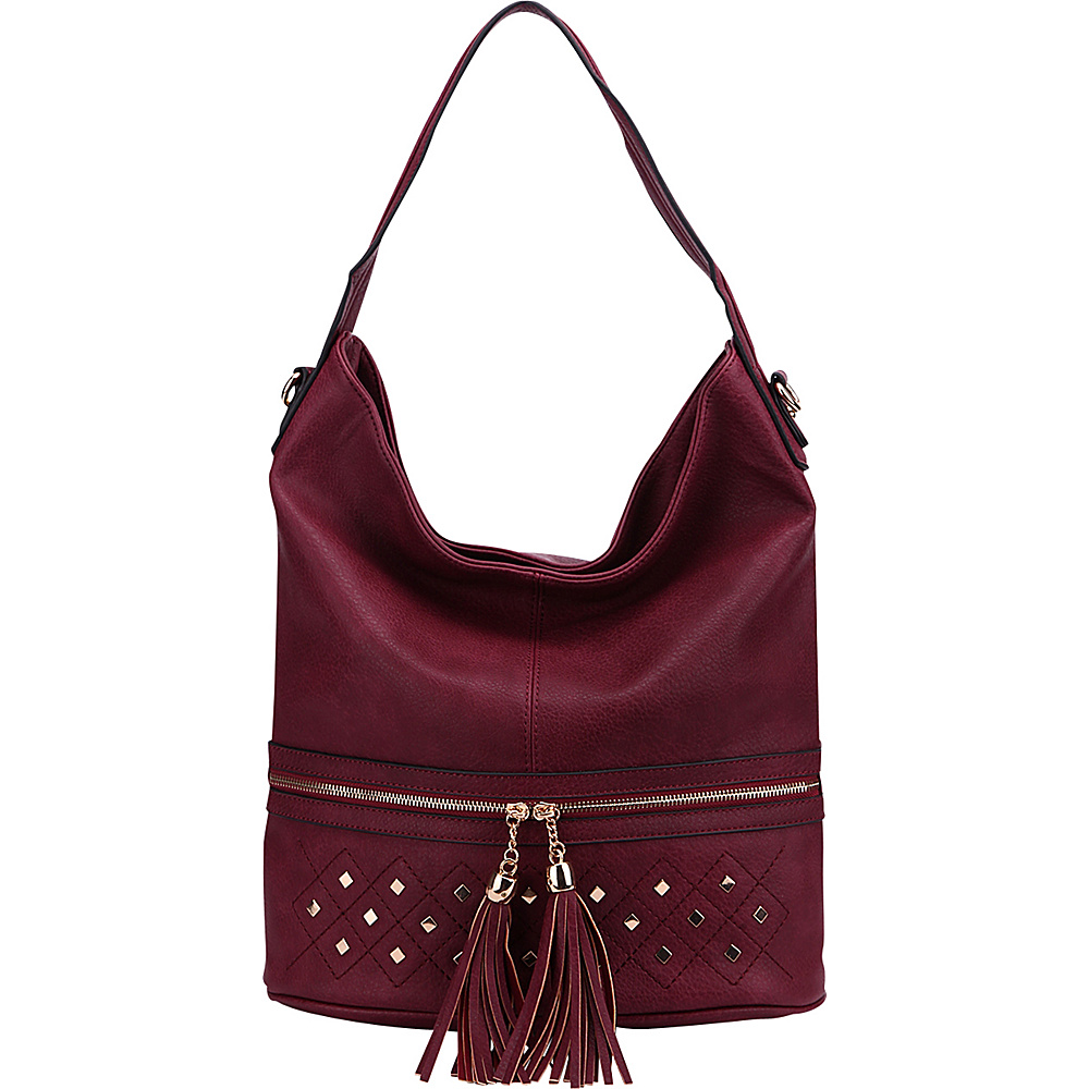 MKF Collection by Mia K. Farrow Adelle Shoulder Bag Burgundy - MKF Collection by Mia K. Farrow Manmade Handbags - Handbags, Manmade Handbags