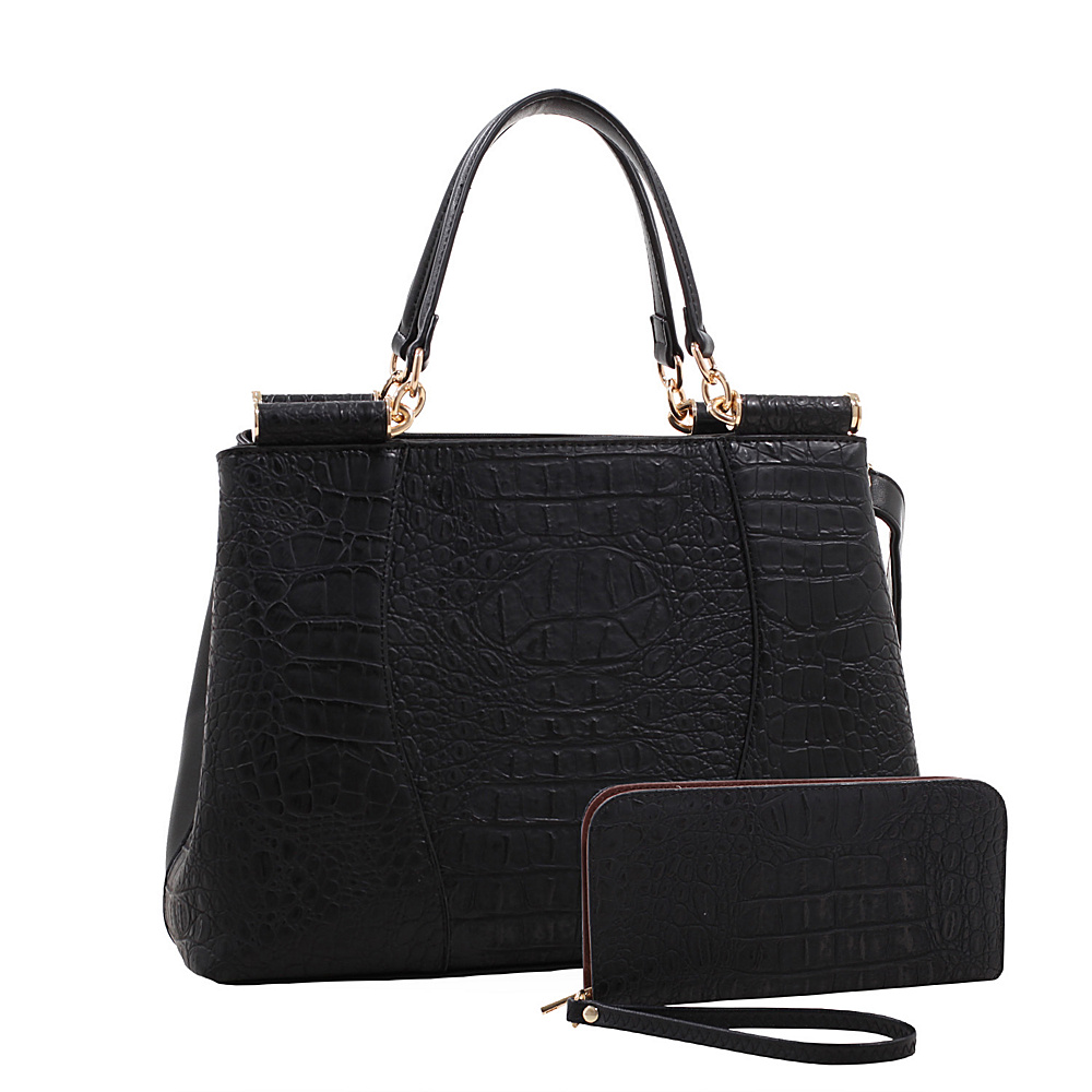 MKF Collection Montgomery Croco Embossed Satchel with Matching Wallet Black - MKF Collection Manmade Handbags - Handbags, Manmade Handbags