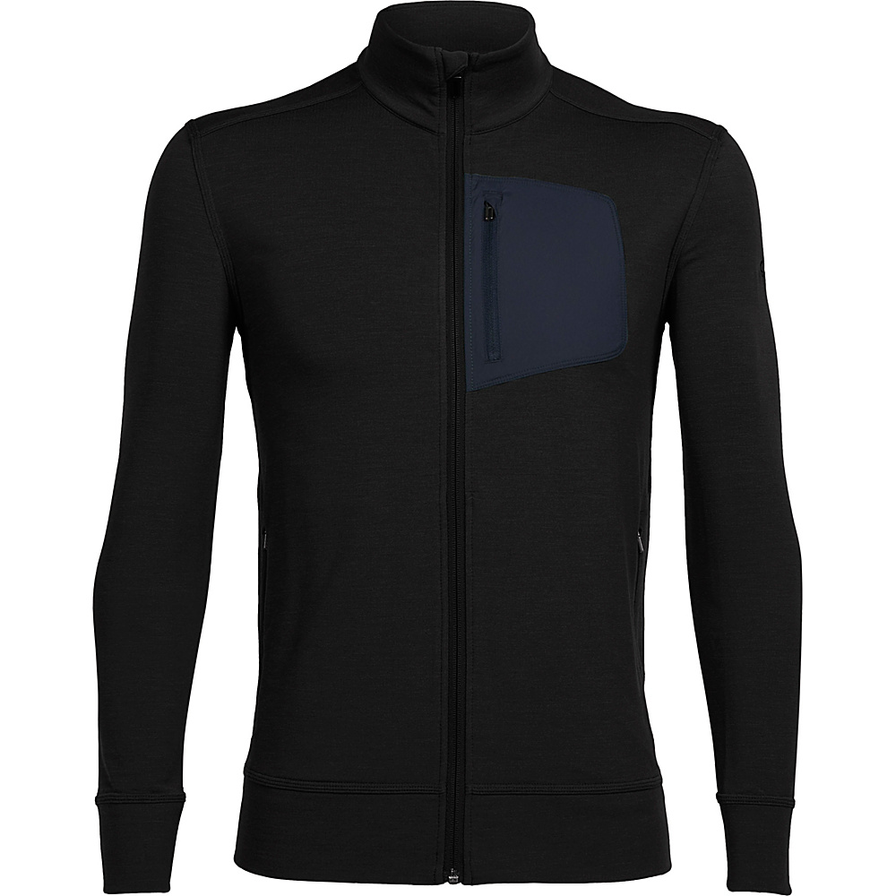 Icebreaker Mens Momentum Long Sleeve Zip XXL - Black Heather/Stealth - Icebreaker Mens Apparel - Apparel & Footwear, Men's Apparel