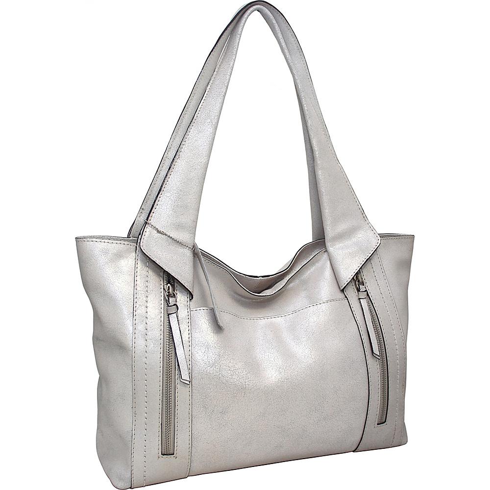 Nino Bossi Fiona Tote Silver - Nino Bossi Leather Handbags - Handbags, Leather Handbags