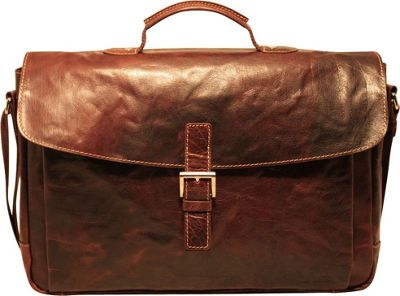 Jack Georges Voyager Slim Flapover Briefcase Brown - Jack Georges Non-Wheeled Business Cases