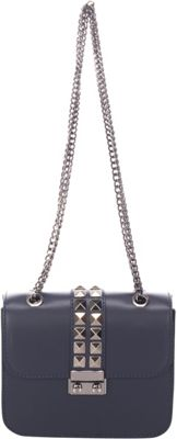 Lisa Minardi Chain Strap Shoulder Bag Dark Blue - Lisa Minardi Leather Handbags