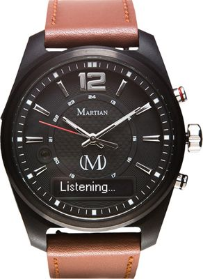 Martian Watches Martian AE 02 Smartwatch Black Dial / Black Case / Luggage Brown Leather St - Martian Watches Wearable Technology