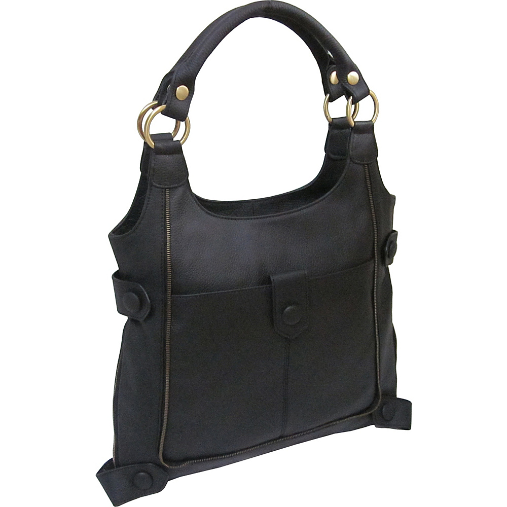 AmeriLeather Judelle Universal Shoulder Bag Black - AmeriLeather Leather Handbags - Handbags, Leather Handbags