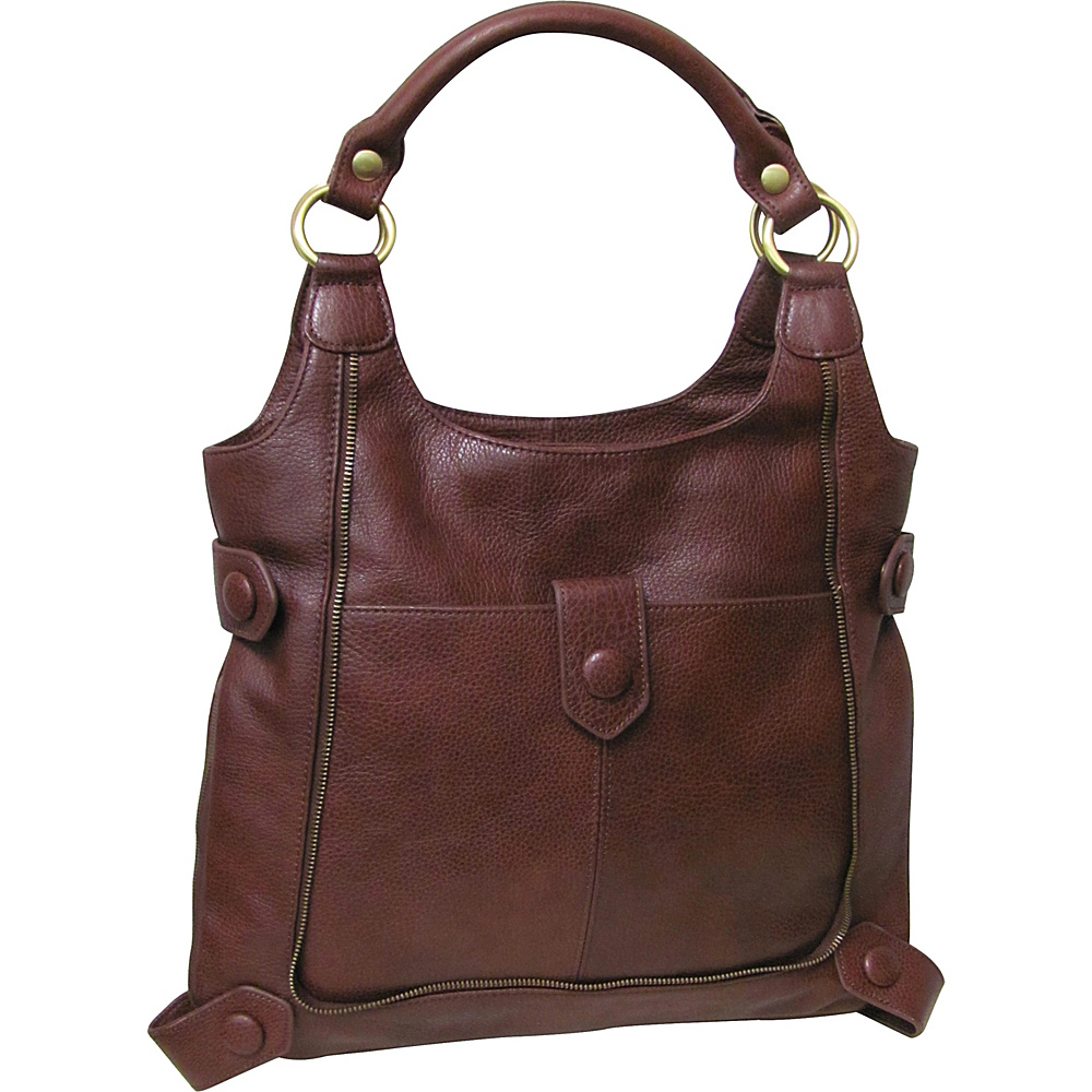 AmeriLeather Judelle Universal Shoulder Bag Chestnut Brown - AmeriLeather Leather Handbags - Handbags, Leather Handbags